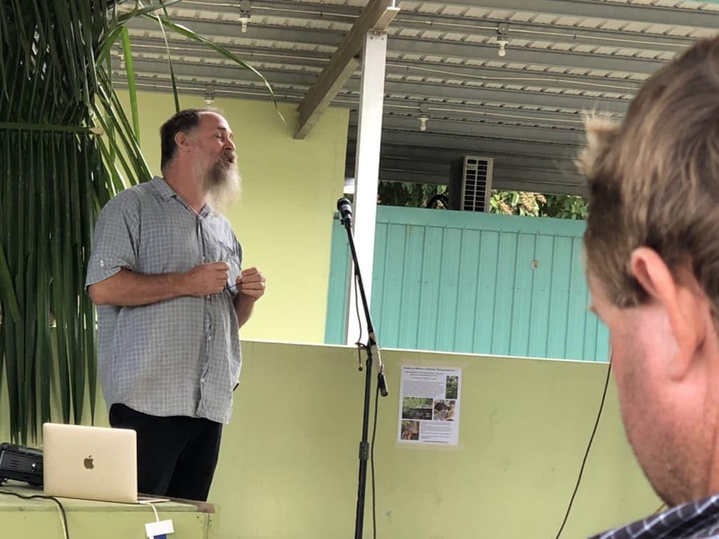 Farmer Christopher Nesbitt speaks at the Tropical Agriculture Conference